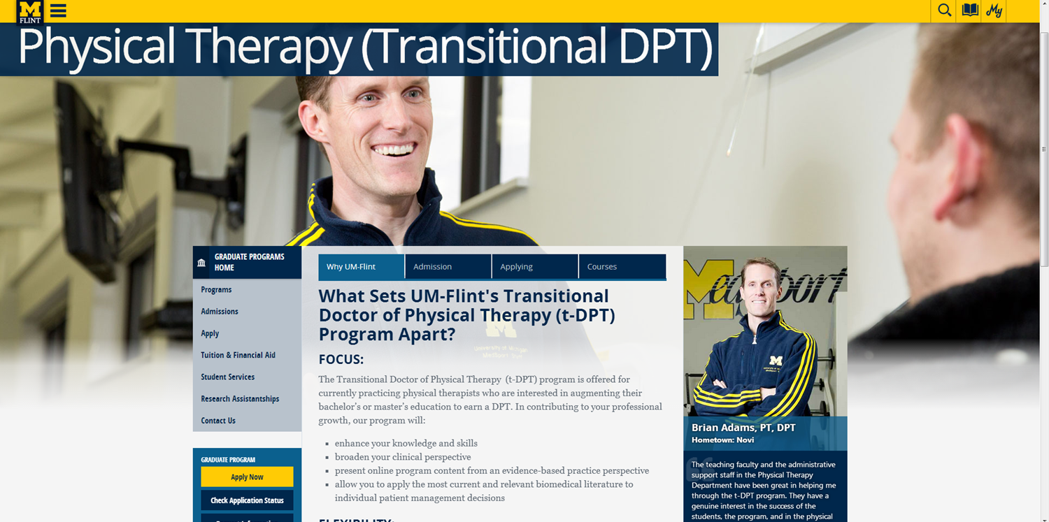 UM-Flint's Transitional Doctor of Physical Therapy (t-DPT)